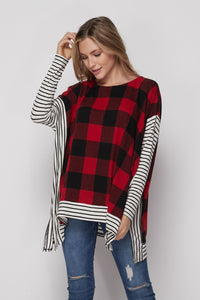 Fireside Poncho Top - Red