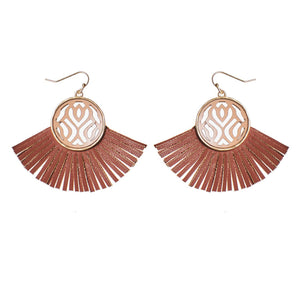 Fringed Filigree Leather Earrings - Available in 2 Colors!