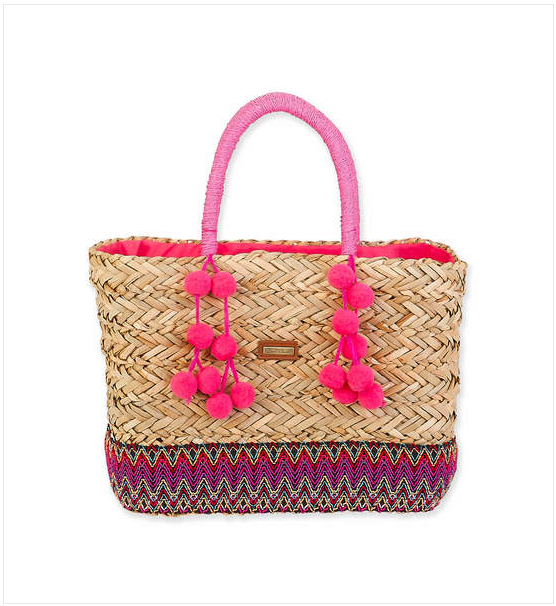 Pom-Pom Seagrass Shoulder Tote