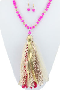 Fuchsia Tassel Necklace & Earring Set