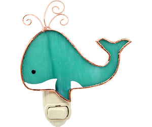 Stained Glass Whimsical Whale Nightlight