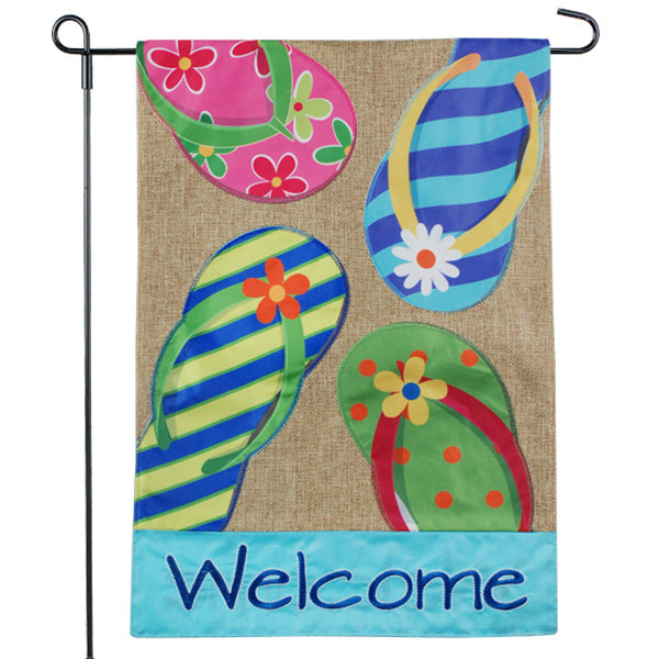 Flip Flop Welcome Burlap Garden Flag