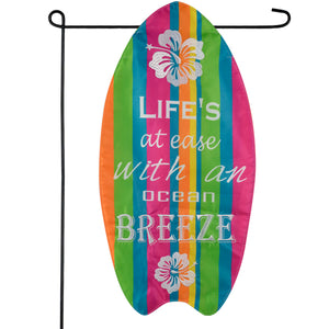 Life's At Ease Surfboard Garden Flag