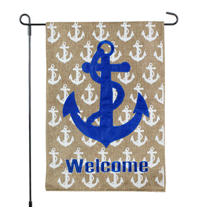Coastal Anchor Welcome Burlap Garden Flag