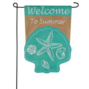 Seashell Welcome Burlap Garden Flag
