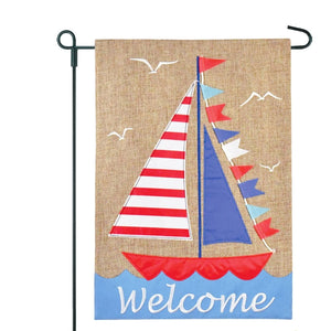 Sailboat Welcome Garden Flag