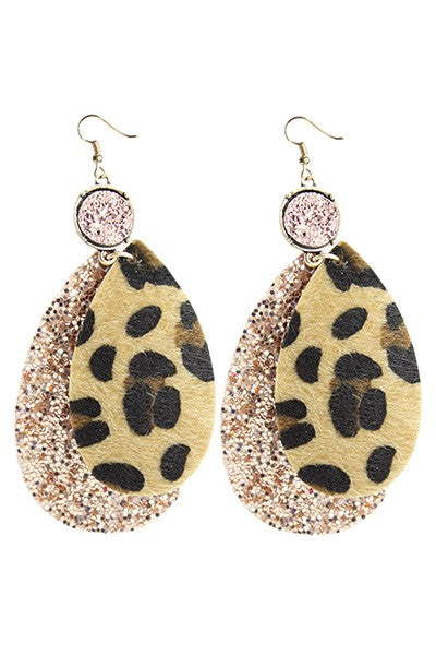 Glitter Leopard Earrings - Available in 2 Colors
