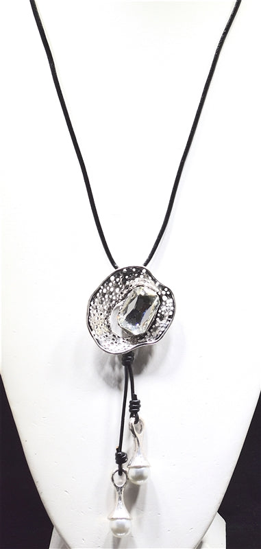 Hammered Crystal Necklace - Available in 2 Colors