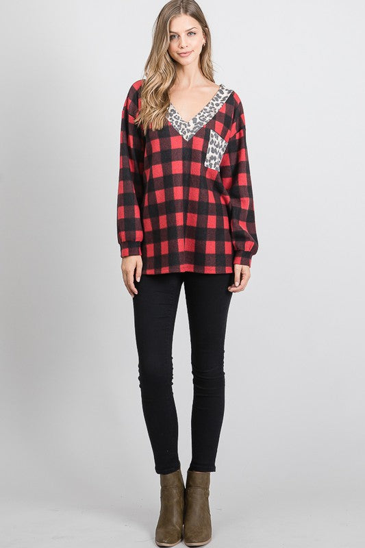Heartland Checkered Top in Red