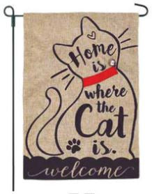 Home with Cat Garden Flag