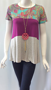Paisley Plum Top