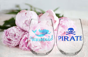 Pirate/Mermaid Stemless Wine Glass Set