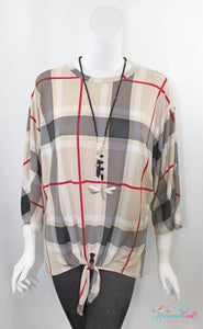 Simply Plaid Knotted Top