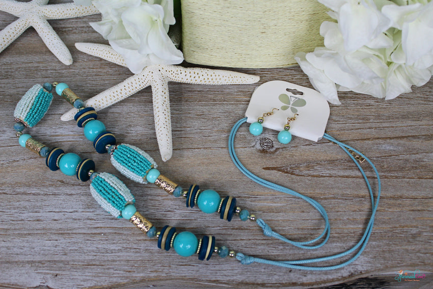 Iconic Aqua Mix Beads Necklace and Earring Set