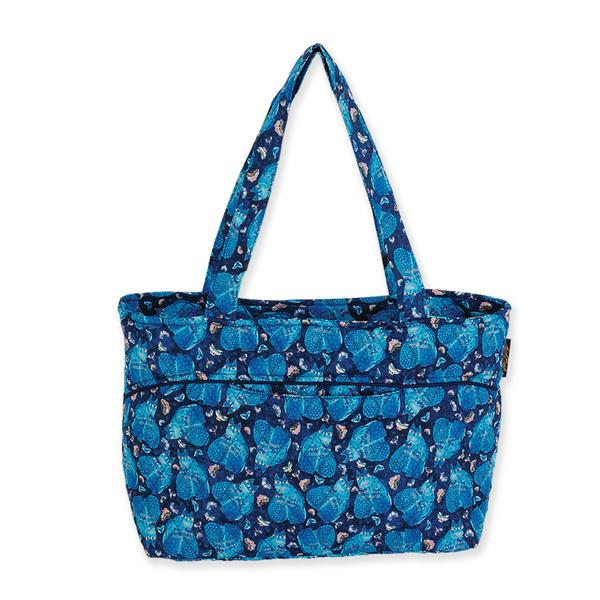 Laurel Burch Indigo Cats Medium Quilted Shoulder Tote