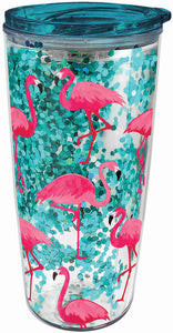 Flamingo Glitter Travel Tumbler