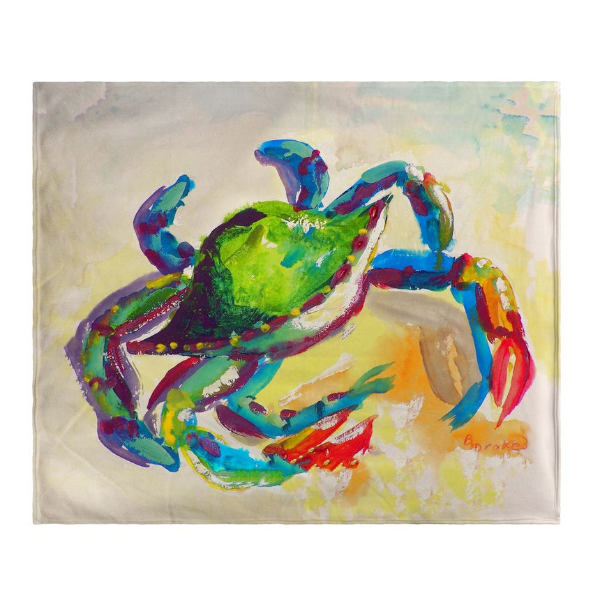 Teal Crab Fleece Blanket
