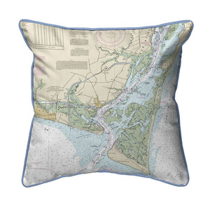 Cape Fear, NC Nautical Map Large Corded Indoor/Outdoor Pillow