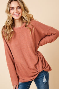 Its Knot Me Sweater Top - Rust