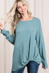 Its Knot Me Sweater Top - Teal