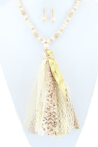 Ivory Tassel Necklace & Earring Set