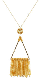 Gentry Necklace - Gold Beaded Triangle