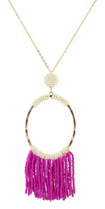 Gentry Necklace - Fuchsia & Ivory Beaded Oval
