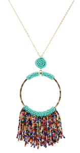 Gentry Necklace - Turquoise & Multi Beaded Hoop