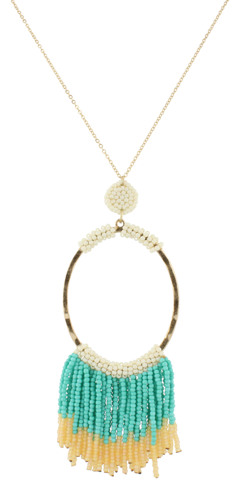 Gentry Necklace - Turquoise & Ivory Beaded Oval