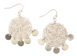 Wicker Weave Circle Earring With Gold Circle Dangles