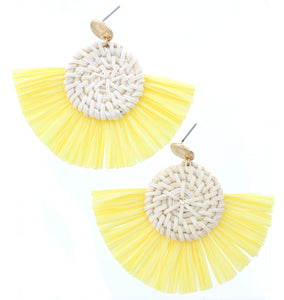 Gold Circle Stud Wicker Weave Circle Yellow Fan Raffia Earring