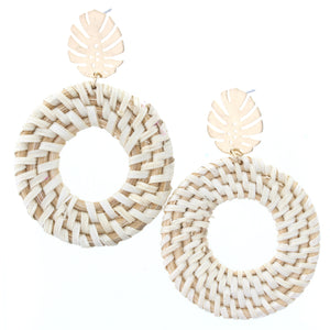Gold Palm Leaf Stud With Open Circle Wicker Weave Earring