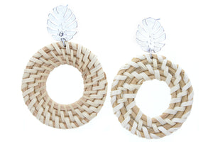 Silver Palm Leaf Stud With Open Circle Wicker Weave Earring