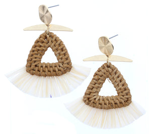 Gold Stud Earring With Triangle Wicker Weave & Cream Raffia