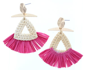 Gold Stud Earring With Triangle Wicker Weave & Pink Raffia