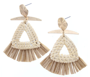 Gold Stud Earring With Triangle Wicker Weave & Tan Raffia