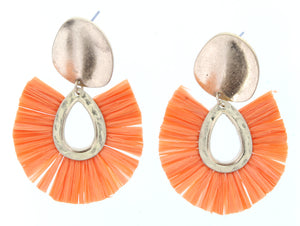 Gold Plate Stud Earring With Orange Fan Raffia