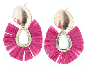 Gold Plate Stud Earring With Pink Fan Raffia