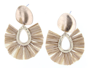 Gold Plate Stud Earring With Tan Fan Raffia