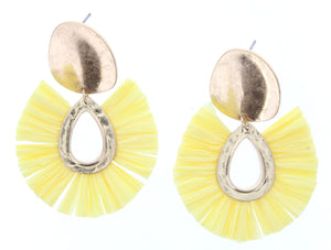 Gold Plate Stud Earring With Yellow Fan Raffia