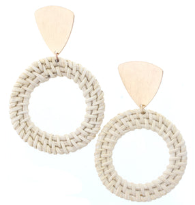 Gold Triangle Stud Earring With Open Wicker Weave Circle