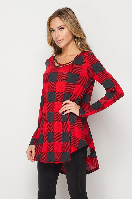 Joyful Checkered Top