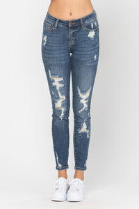 Midrise Heavy Destroyed Skinny Jean