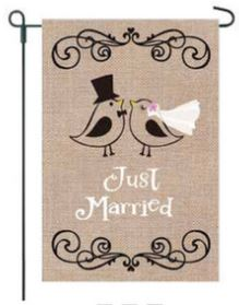 Just Married Garden Flag