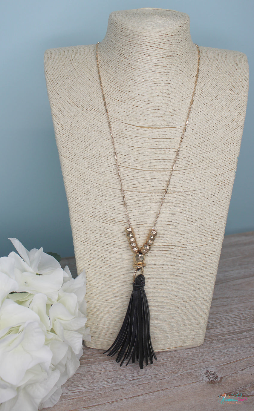 Leather Tassel Necklace & Earring Set - Available in 3 Patterns