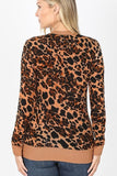 Leopard Snap Button Cardigan in Brown