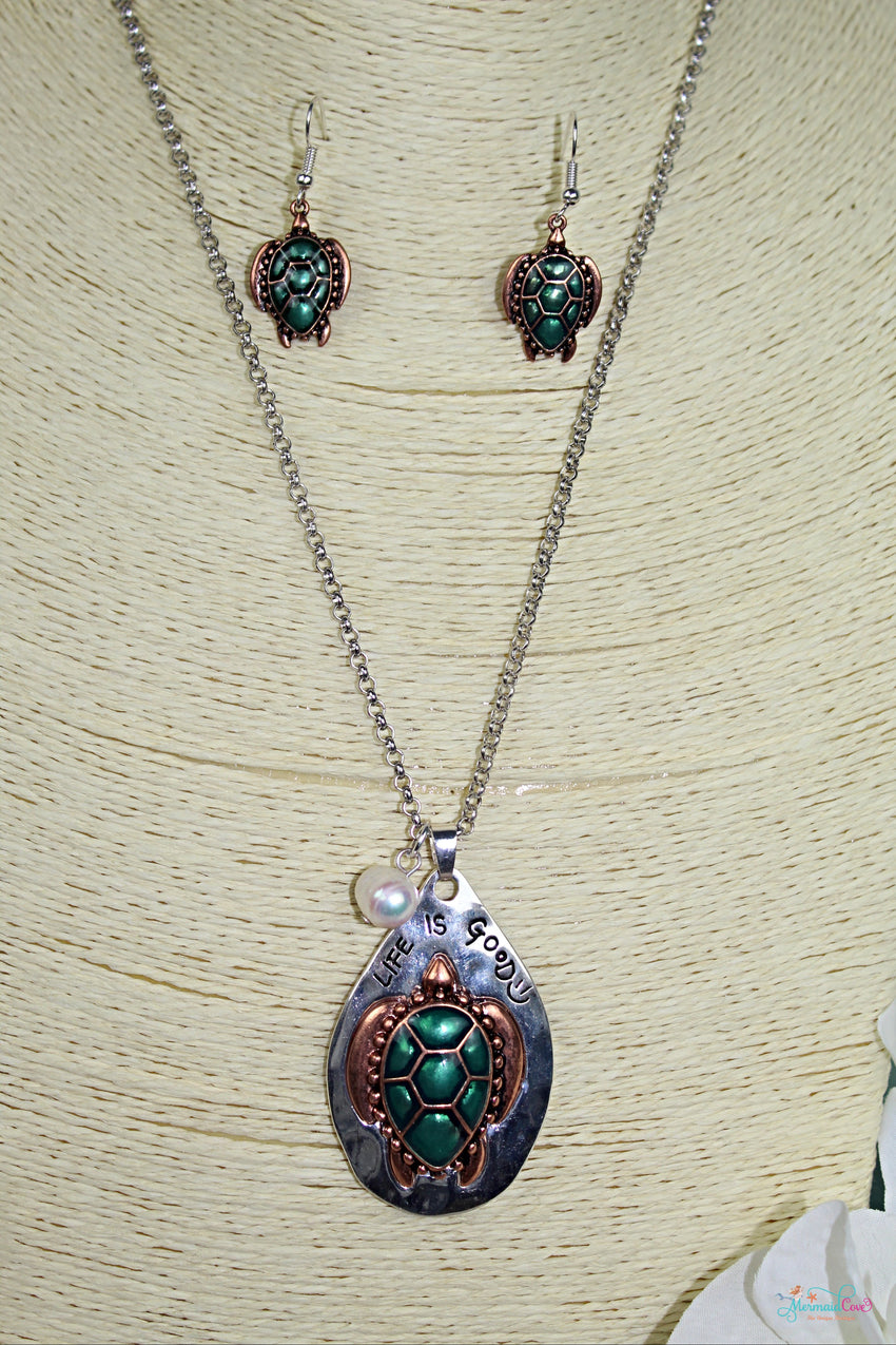 Life is Good Turtle Pendent Necklace and Earring Set