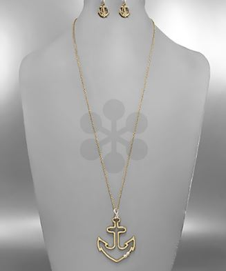 Long Anchor Earring & Necklace Set - Available in 2 Colors