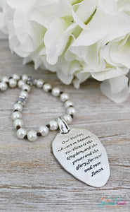 Lords Prayer Pearl Spoon Necklace