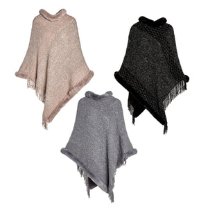 Marigold Faux Fur Trim Poncho - Available in 3 Colors!